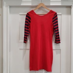 Red and navy blue mini dress